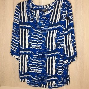 Lands End Blue and White Sail Boat Blouse